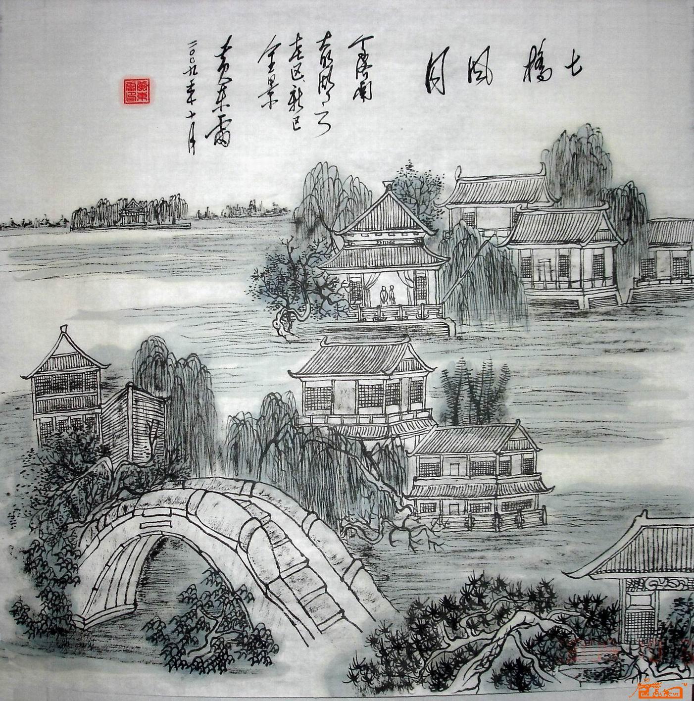 名家 黄东雷(古画王子) 山水 - 济南大明湖系列国画