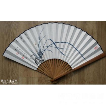 名家名人彭琰林手工画中国画写意花鸟画立轴作品兰草兰花扇子扇面